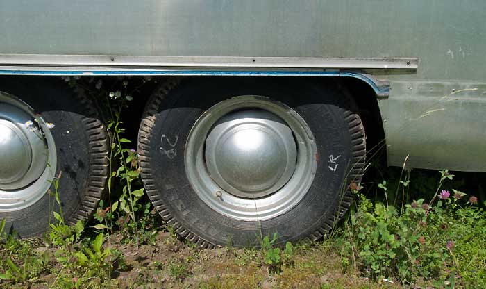 View of left tires and wheels - 1969 Airstream Tradewind, July 14, 2009