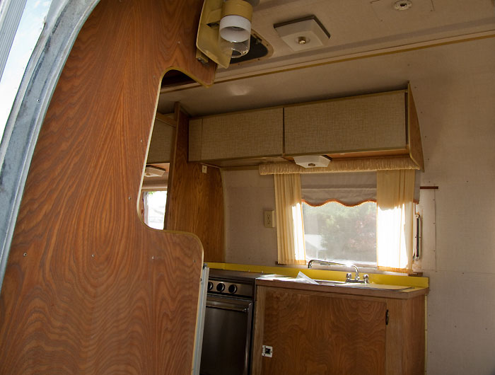 View looking in the entrance door - 1969 Airstream Tradewind, July 14, 2009