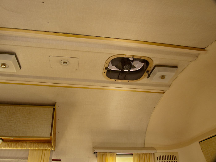 View of the ceiling above the front goucho - 1969 Airstream Tradewind, July 14, 2009