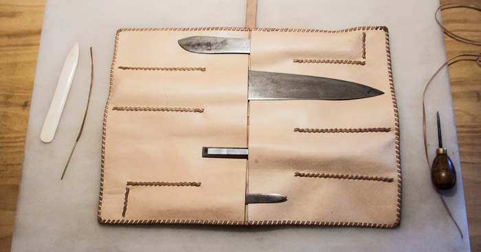 Traveler's leather kitchen knife roll - open for business