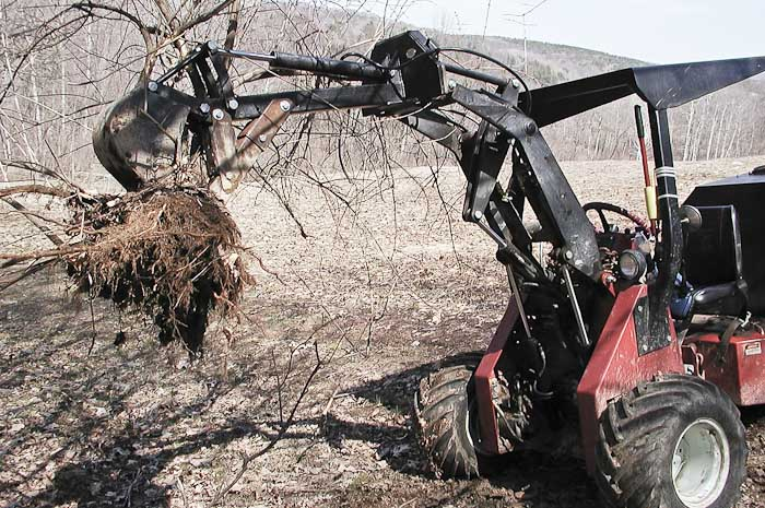 Power-TracMiniHoe Carrying a Honeysuckle Bush