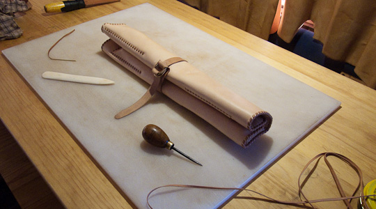 Traveler's leather kitchen knife roll