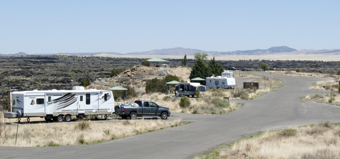 Valley of Fires campground looking north from site 15, April 27, 2009