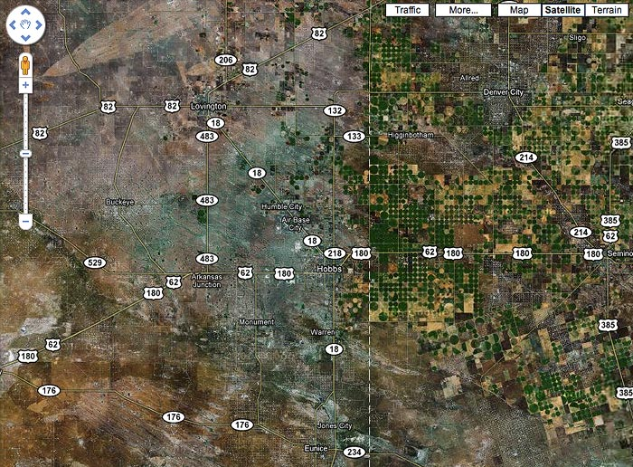 Google map of the TX border at Hobbs NM, screen shot November 30, 2009