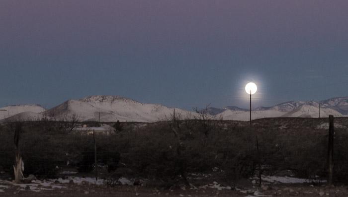 Moon on a Stick, Sunrise, Bosque Birdwatchers RV Park, San Antonio NM, January 30, 2010