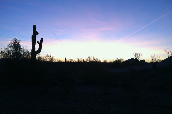 Into the Sun, Plomosa Road Sunrise, Quartzsite AZ, January 29, 2012
