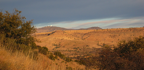 Dawn at McDonald Observatory, from the trail above Davis Mountains State Park, Fort Davis, Texas, January 13, 2008