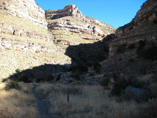 Walking up-canyon on the Second Bench at Milepost 2.75, Dog Canyon Trail, Oliver Lee Memorial State Park, Alamogordo NM, February 2, 2008