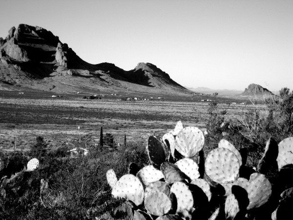 Valley view in black and white, Rockhound State Park, Deming NM, February 20, 2008