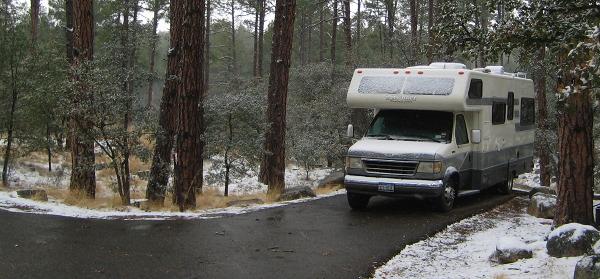 Awaking to snow at White Spar Family Campground, Prescott AZ, March 16, 2008