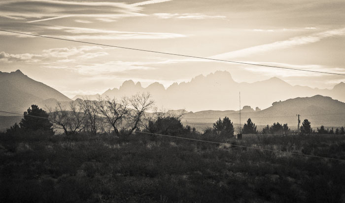 Organ Mountains from Leasburg Dam State Park, Radium Springs NM, January 22, 2009
